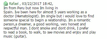 Рафаэль из Перу пишет только о себе и не задает мне ни одного вопроса. Такое сообщение идеально подходит для массовой рассылки