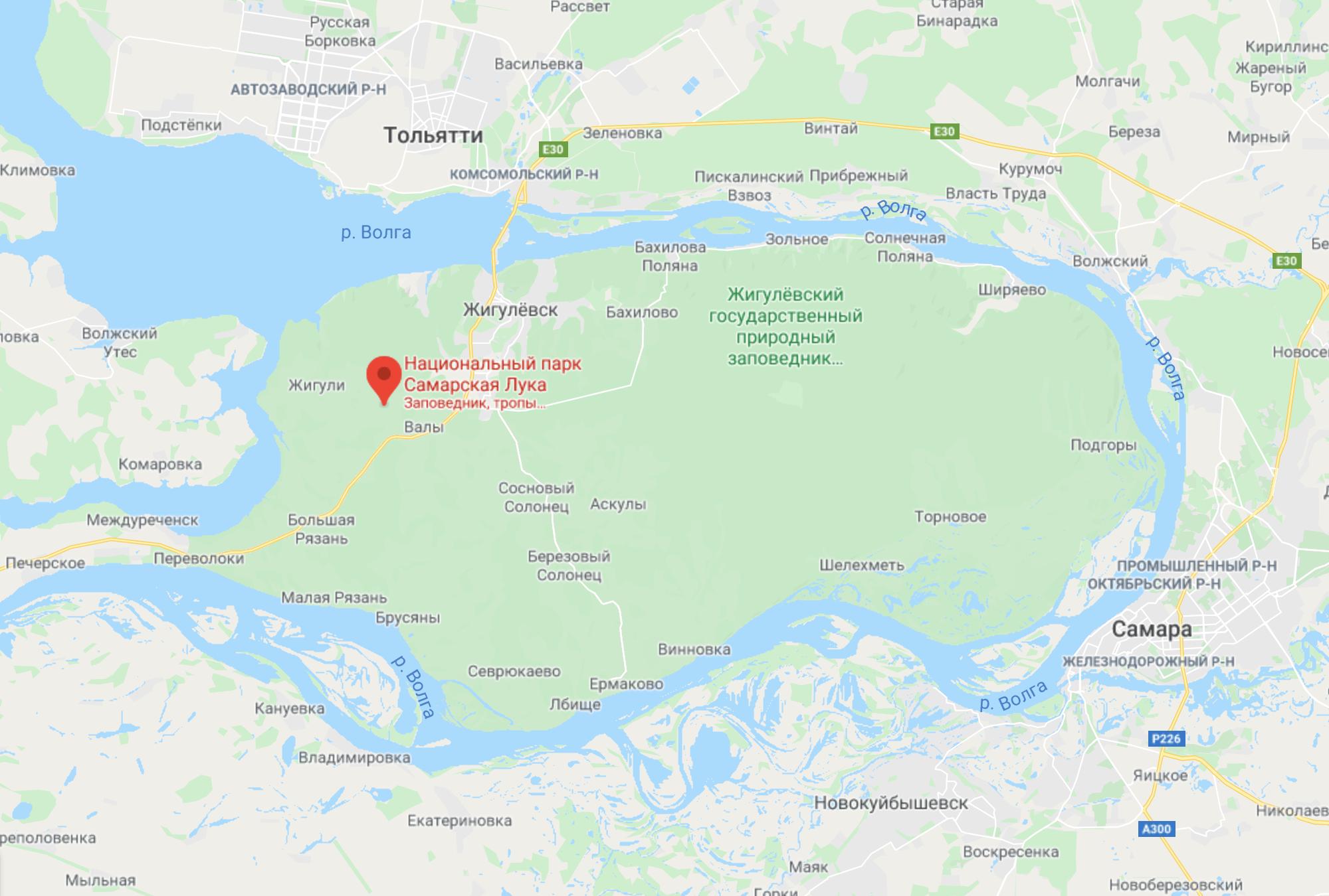 Площадь национального парка «Самарская Лука» — 134 000га