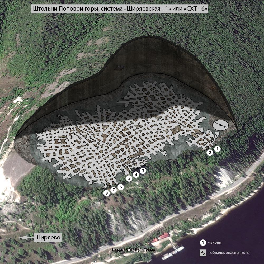Схема штолен Поповой горы. Источник: «Лука-онлайн»