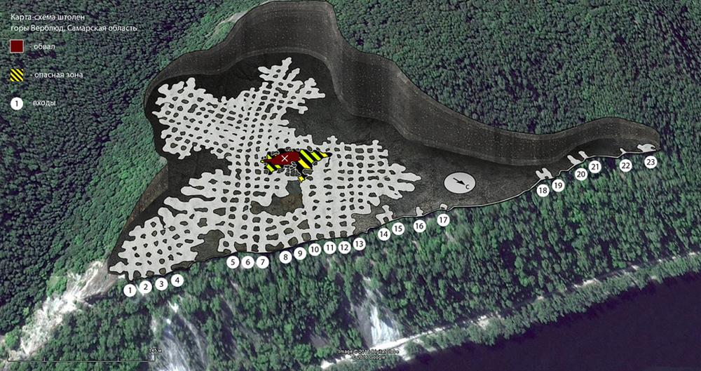 Схема штолен горы Верблюд. Источник: «Лука-онлайн»