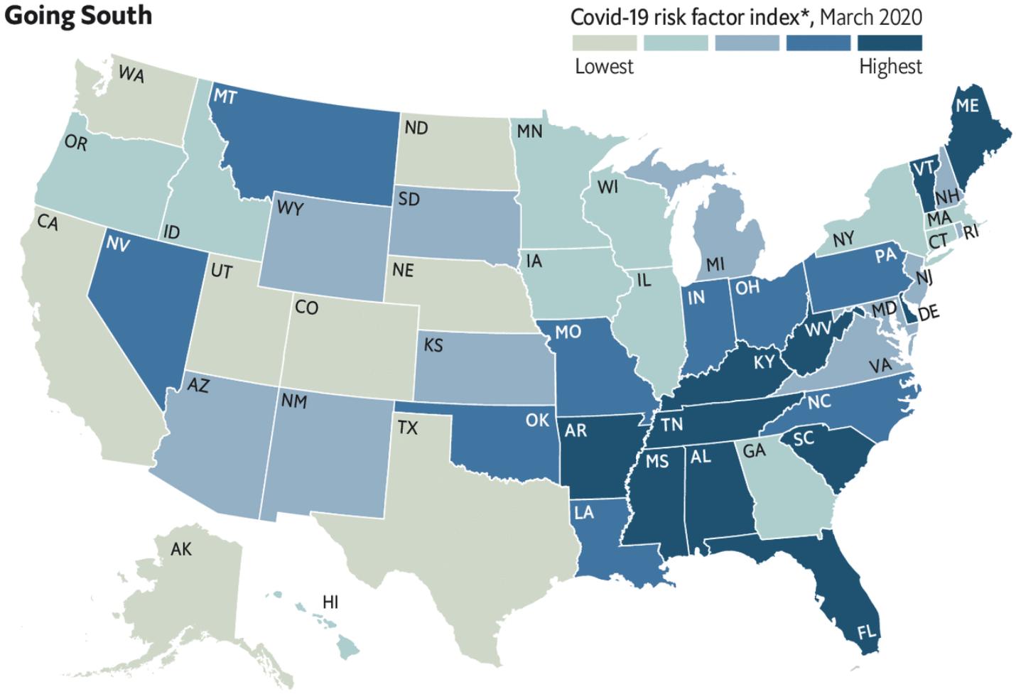 Индекс коронавирусного риска в разных штатах США. Серый — минимальный риск, темно-синий — максимальный. Миссисипи (MS) считается штатом с максимальным уровнем риска. Источник: TheEconomist