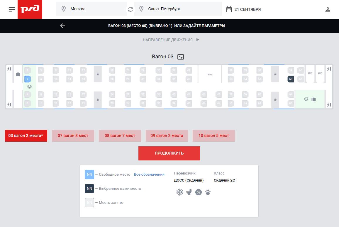 На сайте РЖД после выбора места кнопка оплаты недоступна. Он предлагает ввести данные пассажира — в отличие от сайта мошенников, который сразу предлагает оплатить билеты