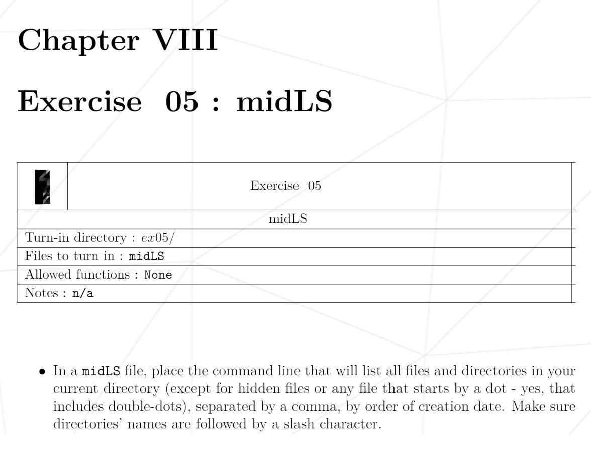 Пример задания первого дня: нужно написать инструкцию командной строки, которая сформирует список всех файлов и папок, разделит их запятыми и отсортирует по дате создания