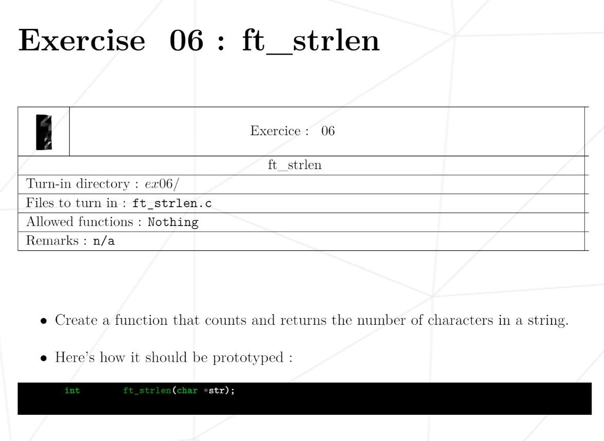 Типичное задание первой недели: самостоятельно написать функцию из стандартной библиотеки языка С, которая считает число символов в строке. Функция — это фрагмент кода, который можно вызвать из другого места программы по имени и выполнить его команды. Стандартные функции позволяют не тратить время на типовой код приразработке программы. Тем не менее студенты должны знать их и уметь писать с нуля