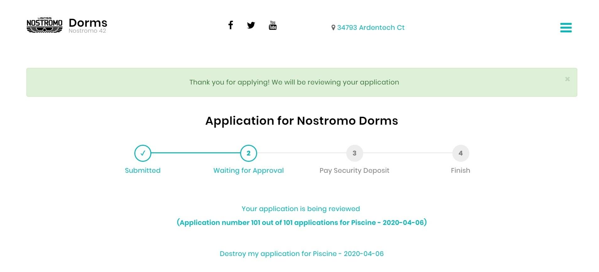 После этого заявка переходит в статус ожидания подтверждения. На странице сайта dorms.42.us.org можно узнать, сколько человек ждут общежитие вместе с вами