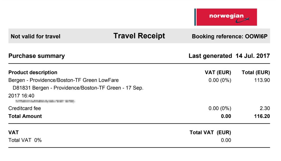 Билет через Атлантический океан за 116€, который я покупала за 2 месяца до вылета