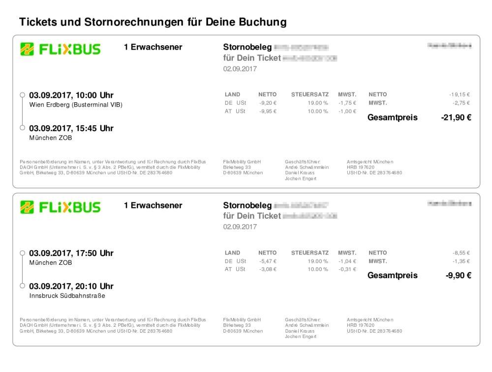Билет на Flixbus по направлению Вена — Мюнхен — Инсбрук, который куплен день в день. Проезд обошелся в 31€
