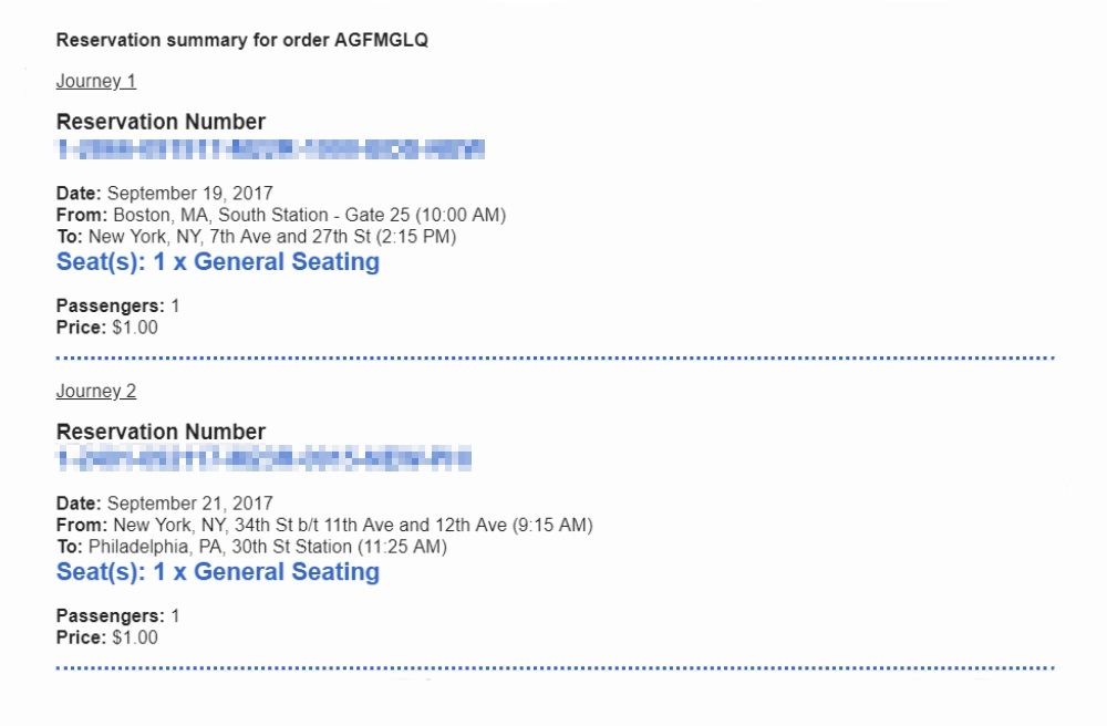 Билеты из Бостона в Нью-Йорк и из Нью-Йорка в Филадельфию стоили 1$. Я покупала их за 3 месяца до поездки