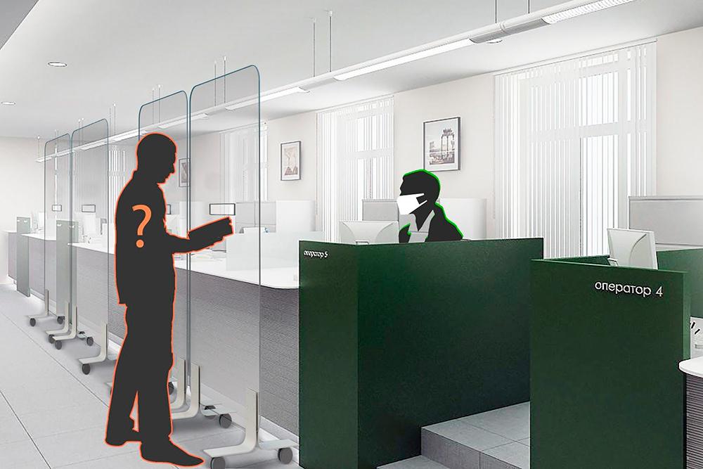 Пример пластикового ограждения дляпомещения снесколькими сотрудниками. Подгоняем подразмеры, нужные клиенту
