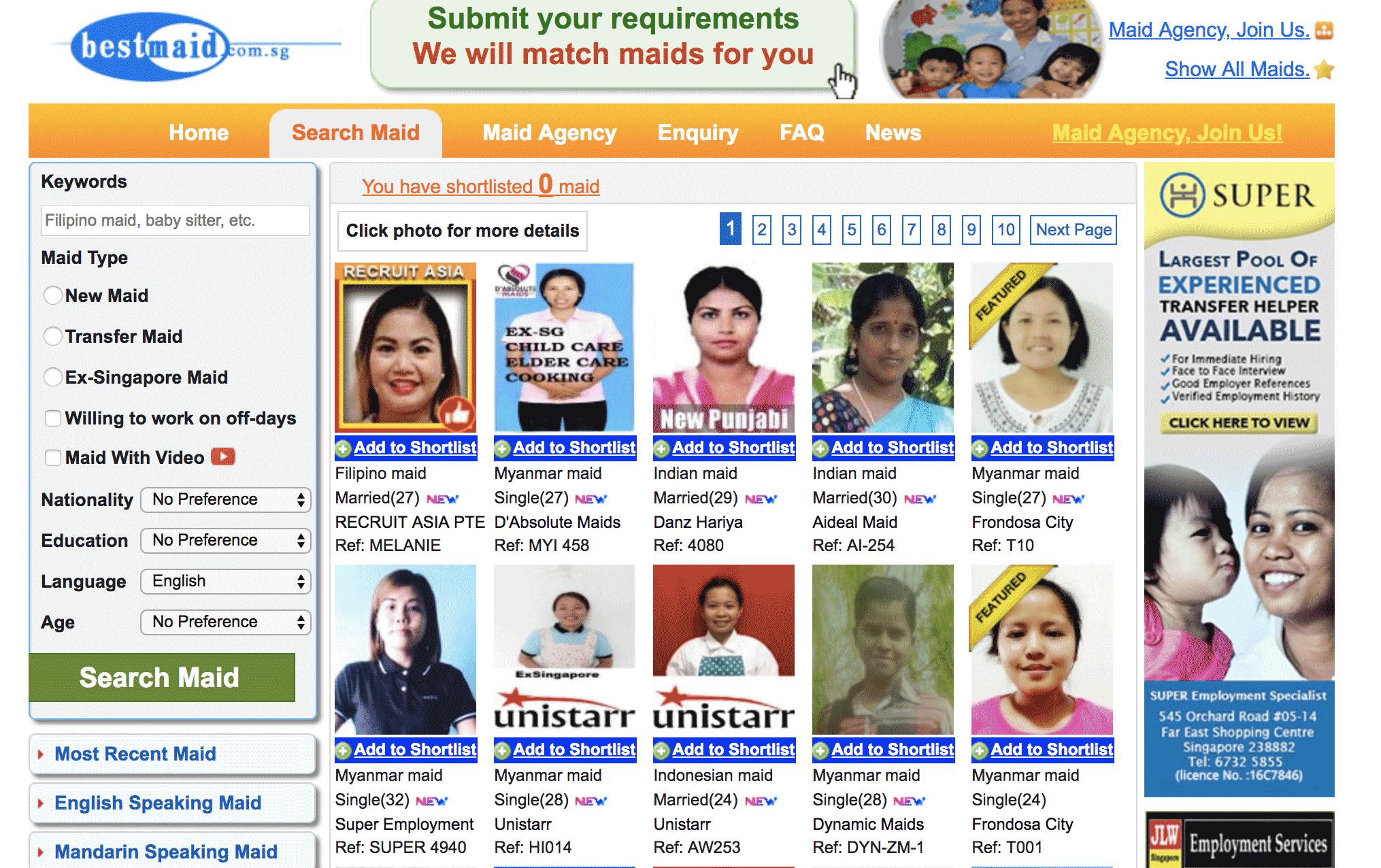Англоязычные помощницы на сайте Bestmaid.com.sg