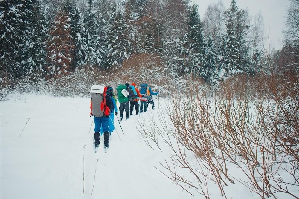 Группа ждет, когда тропящий проложит лыжню