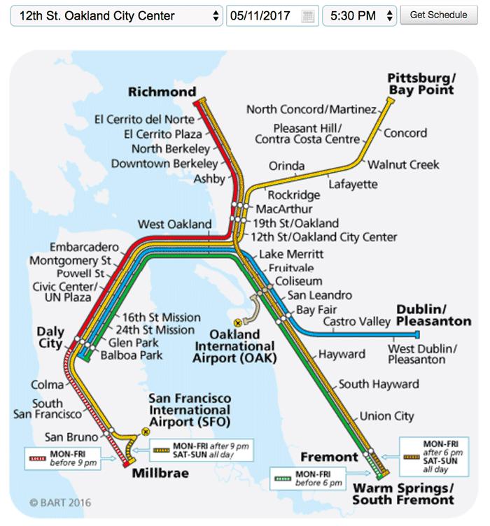 Карта метро Сан-Франциско