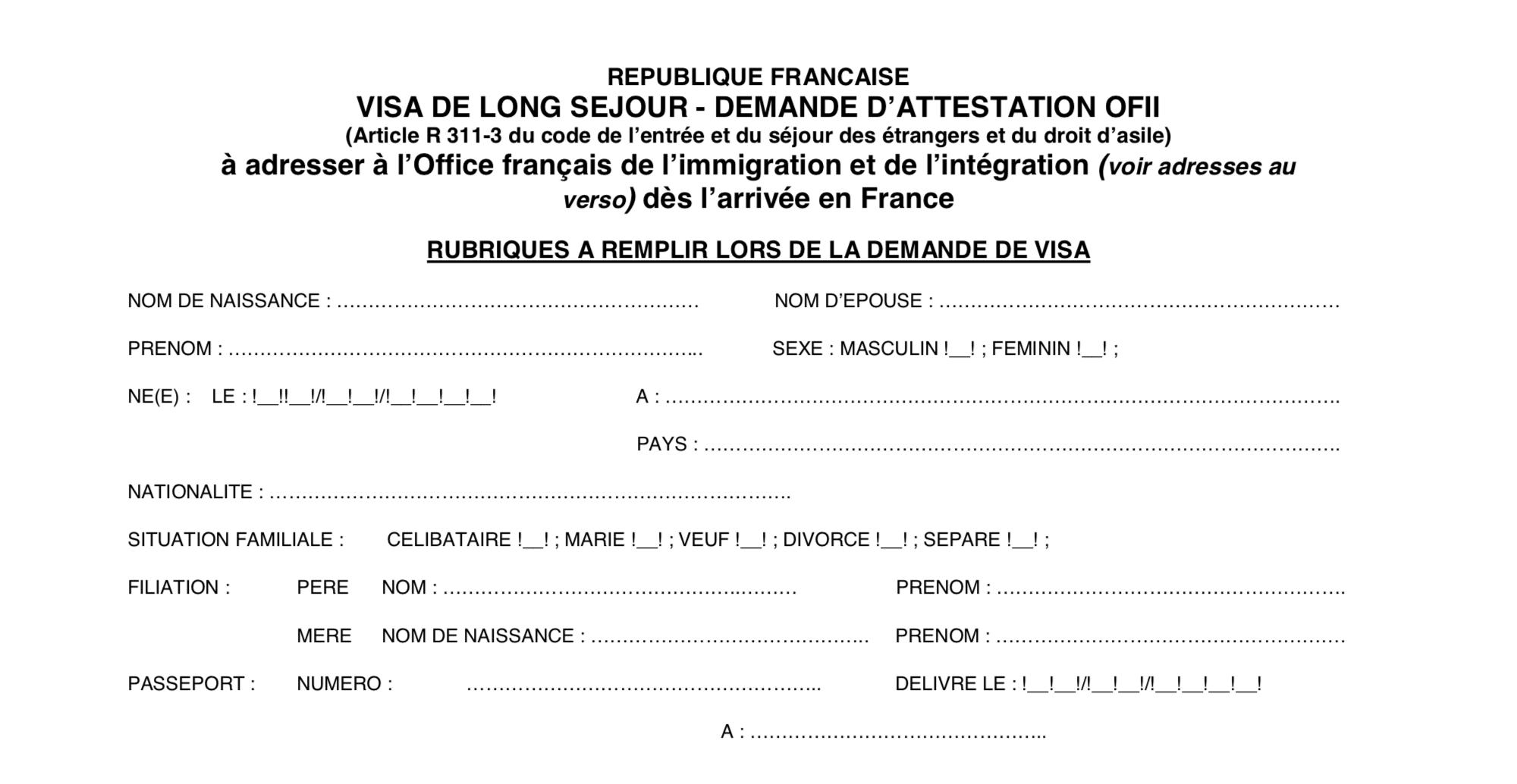 Формуляр OFII нужен длярегистрации после приезда во Францию