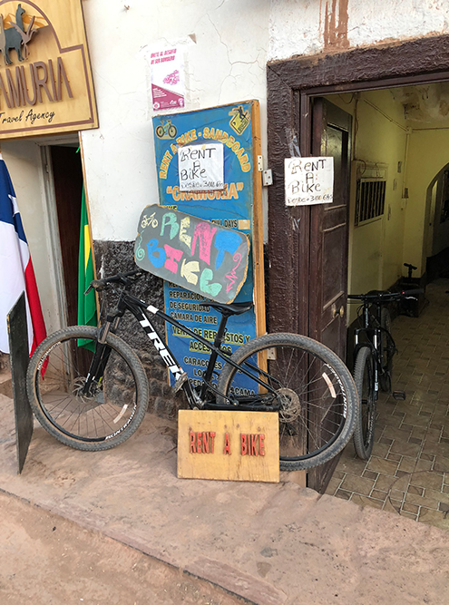 Взять велосипед напрокат в Сан-Педро-де-Атакама стоит 3000&nbsp;песо (237<span class=ruble>Р</span>) за 6 часов