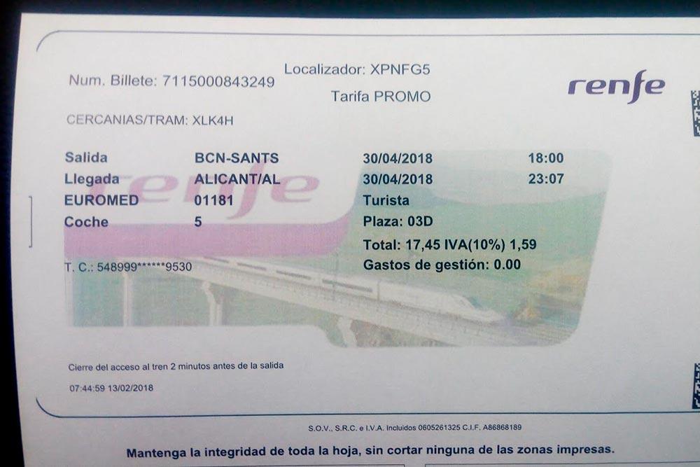 Код CERCANIAS/TRAM нужно ввести в билетном автомате — и вы получите бесплатный билет на электричку и трамвай. Если теряетесь, покажите билет контролеру — он поможет справиться с интерфейсом