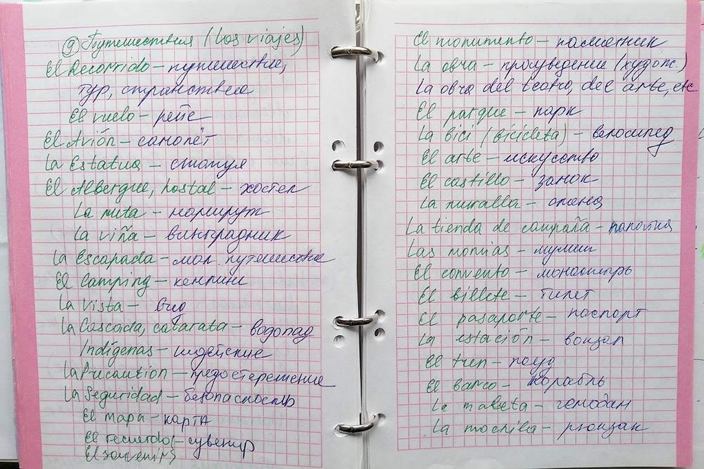 Для записи слов и выражений я завела тетрадь. До сих пор записываю новые — уже во время занятий с репетитором. Все слова и фразы разделила по темам. Так проще ориентироваться по тетради и время от времени повторять материал