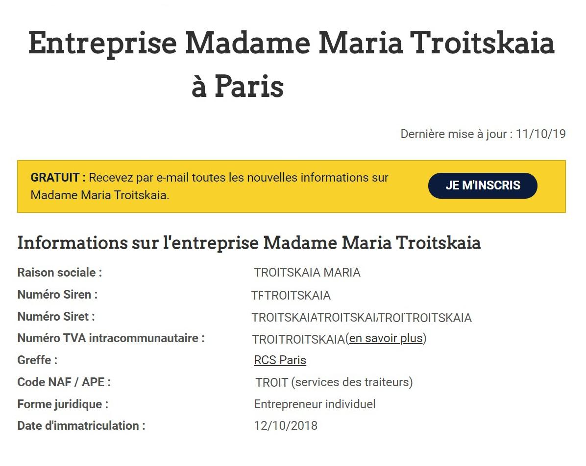 Информация о моем ИП наофициальном сайте предпринимателей