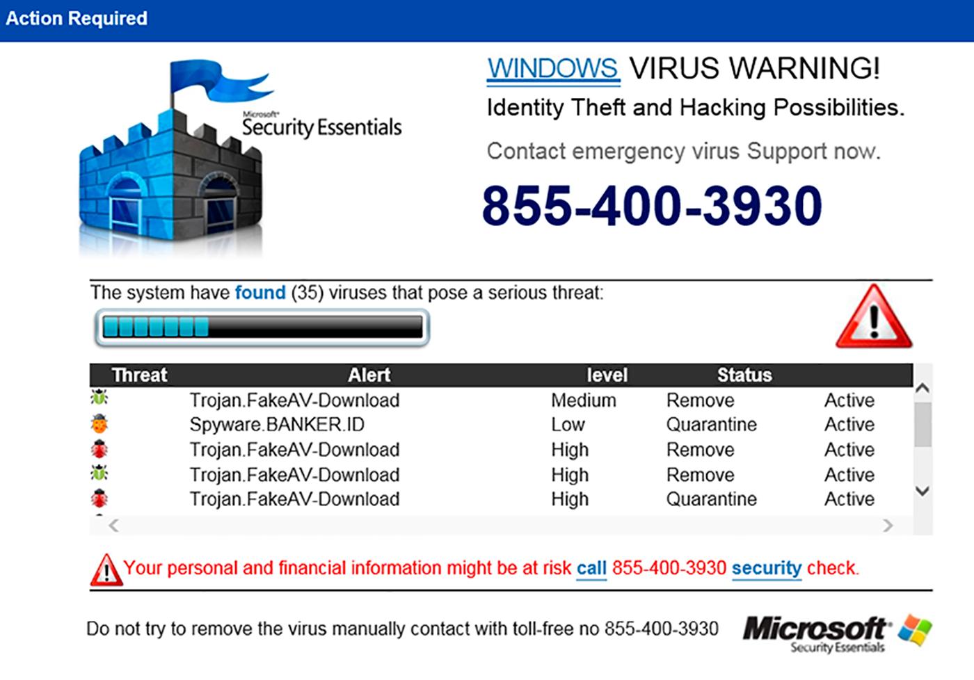 Мошеннический сайт, который сообщает о вирусе на компьютере. Просят срочно связаться с поддержкой