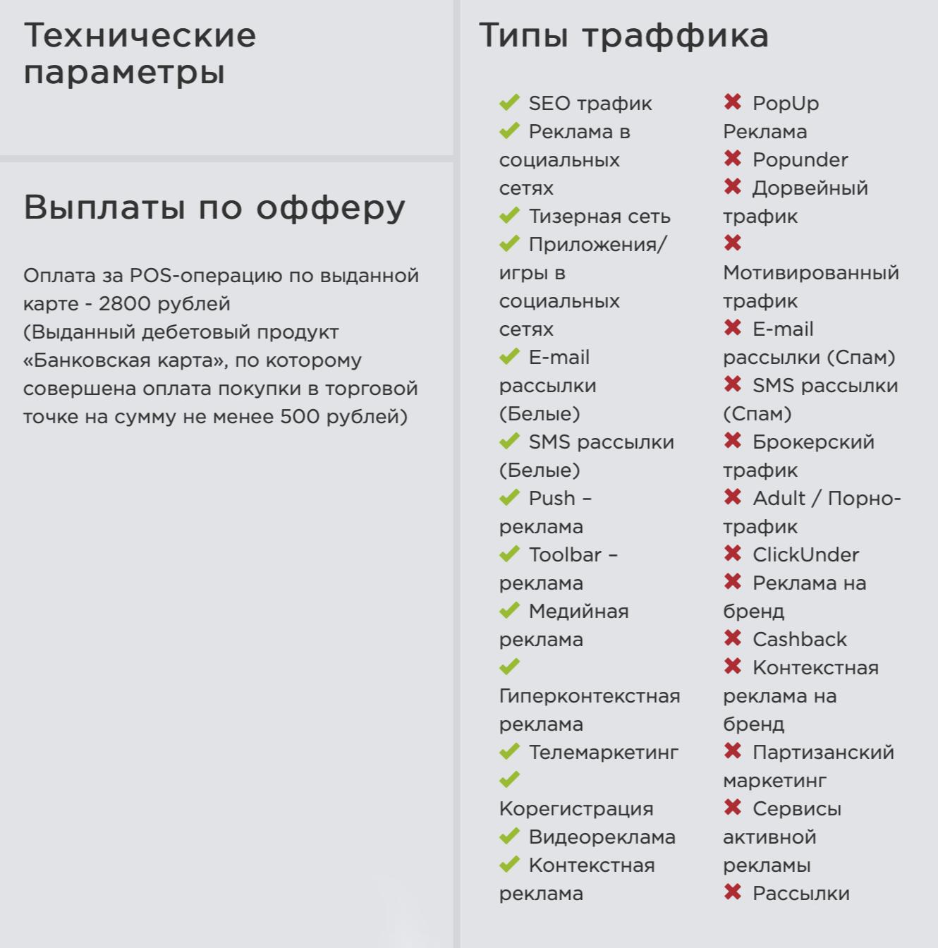Банк заплатит 2800<span class=ruble>Р</span> тому, кто привлечет нового клиента. Справа — список допустимых и недопустимых источников. Например, банк не хочет, чтобы его карту рекламировали через спам или на порносайтах