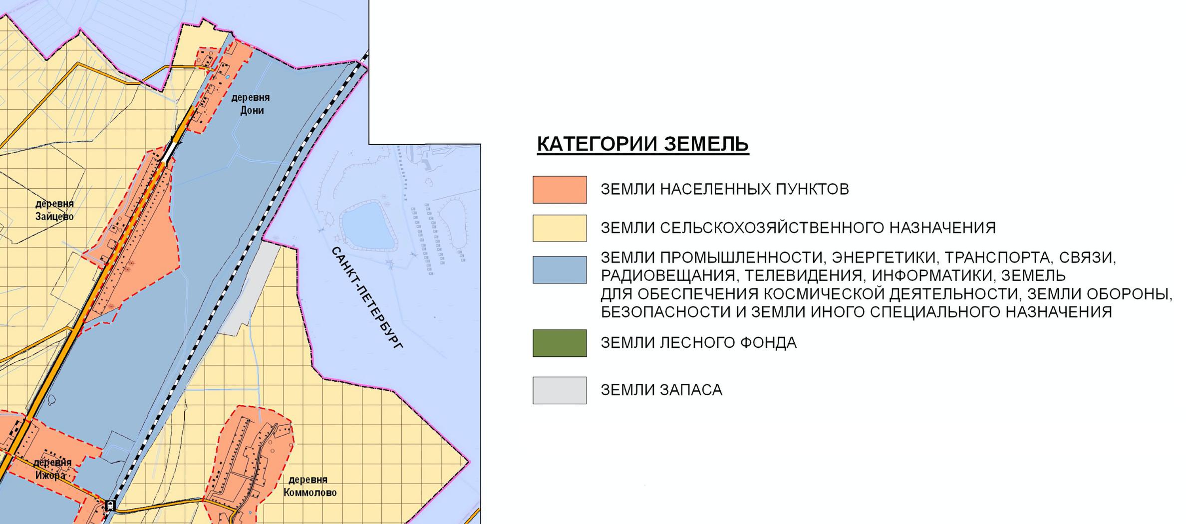 Наглядно видно, чтоземельные участки в деревни Дони относятся к категории земель населенных пунктов, — они выделены на карте светло-оранжевым. В то время как земельные участки, расположенные в СНТ, относятся к категории земель сельскохозяйственного назначения и выделены светло-желтым