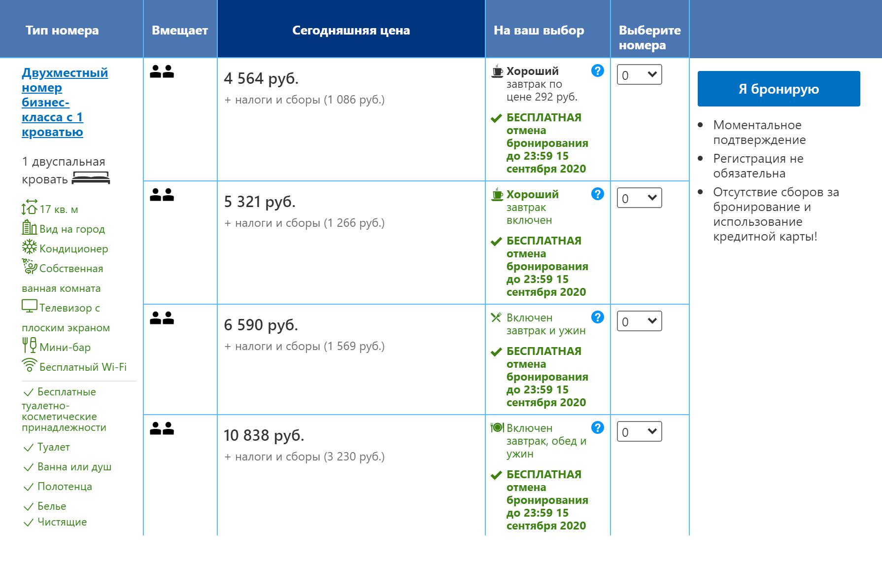 Аналогичный номер с полупансионом в этом&nbsp;же отеле на «Букинге» стоит 6590<span class=ruble>Р</span> в сутки