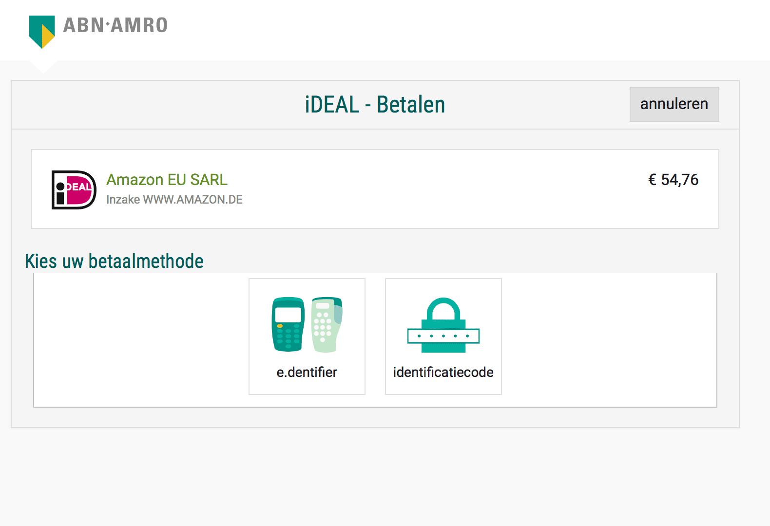 Оплата через «Ай-дил» на «Амазоне»