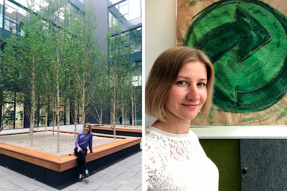 Марина Шалгинских в офисе принимающей организации «Зеленая точка». Марина говорит, что для нее стажировка в Германии — это большой шаг в личном развитии и возможность изучить международный опыт