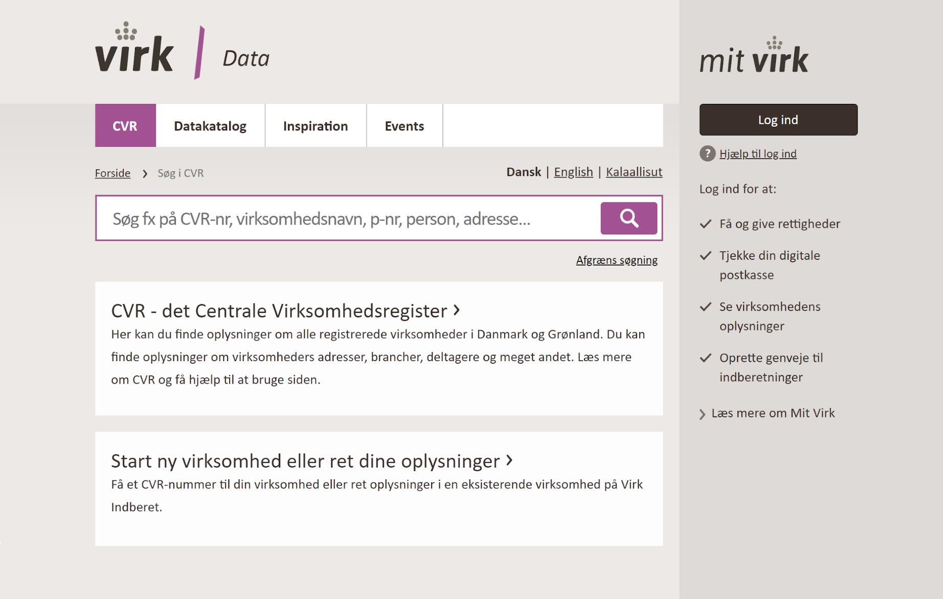Датский Центральный деловой регистр содержит основные данные по всем компаниям Дании
