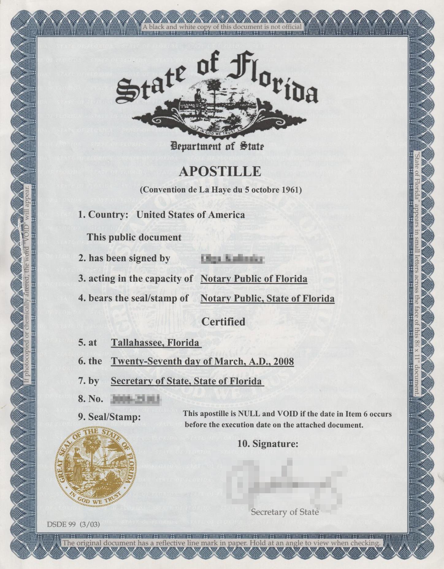 Апостиль нотариуса штата Флорида