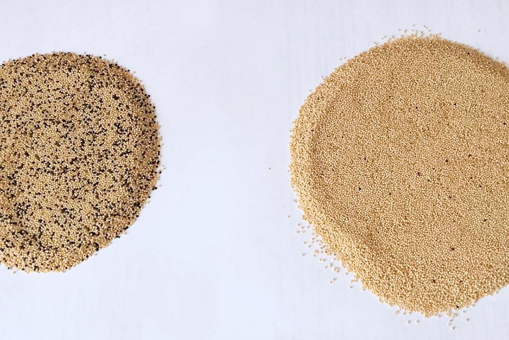 Амарант до и после очистки от темных зерен