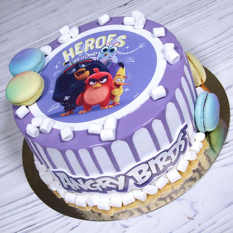 Эскиз торта сгероями игры и мультфильма Angry Birds