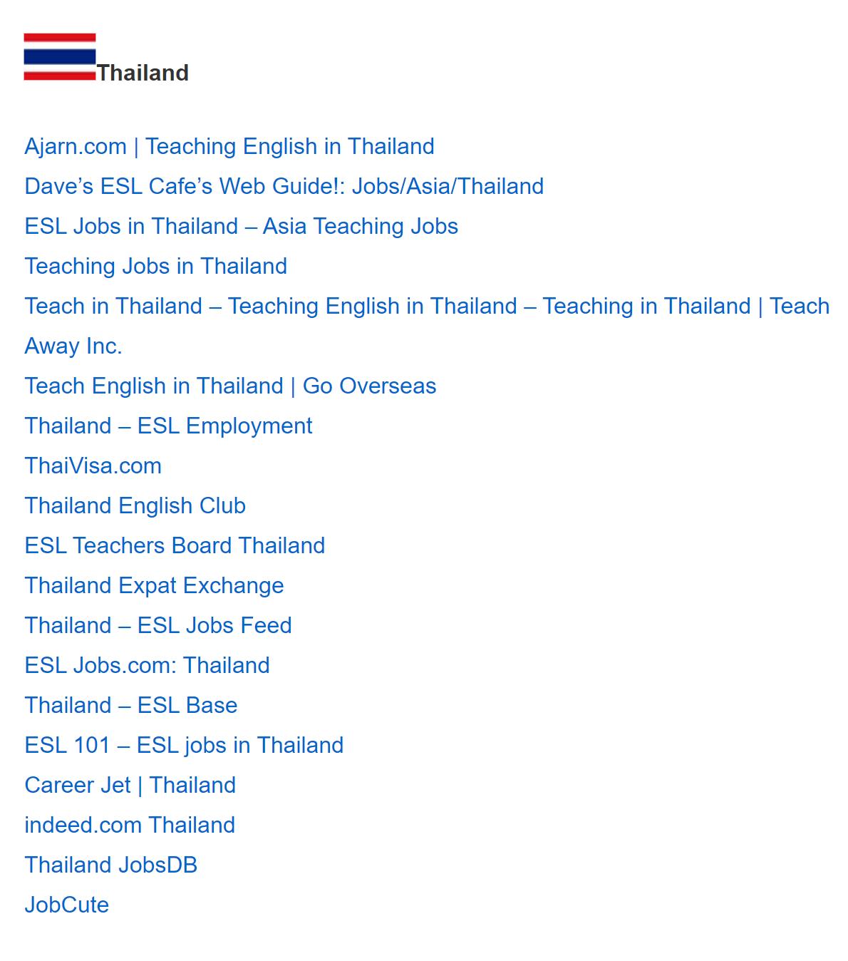 Список ресурсов попоиску работы вТаиланде, доступный после получения сертификатаTEFL