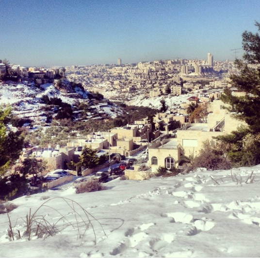 Вид на заснеженный Иерусалим