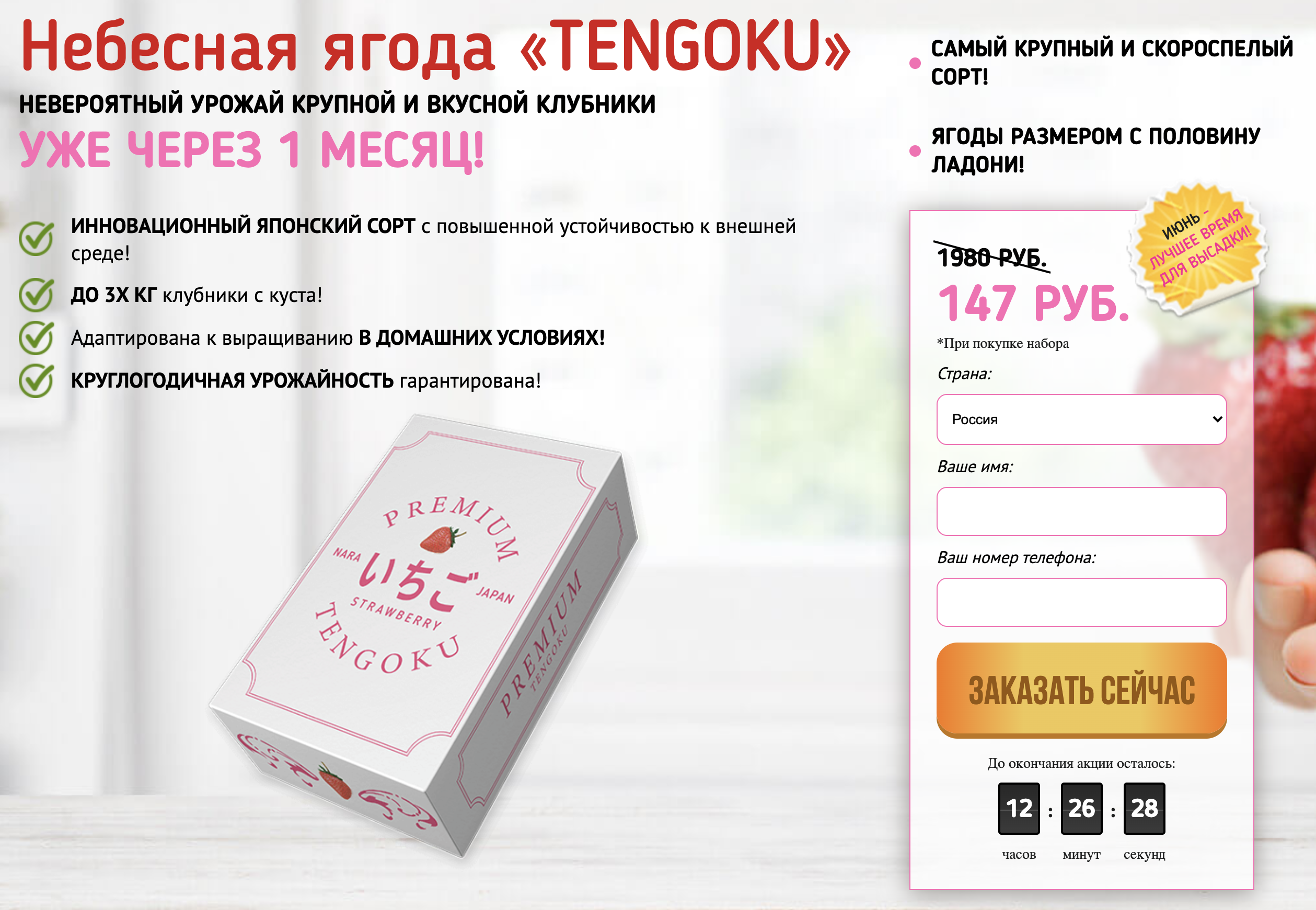Чуть позже я нашла еще один сайт, который продает ягодницы Tengoku, но уже с другой подачей. Наверное, продавцы пробуют разный подход к аудитории. Илиже постоянно меняют сайты, потомучто их постоянно блокируют