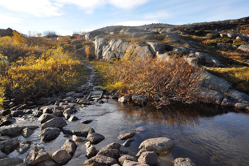 Типичный пейзаж на пути к краю материка: скалы, невысокая растительность и маленькое озеро