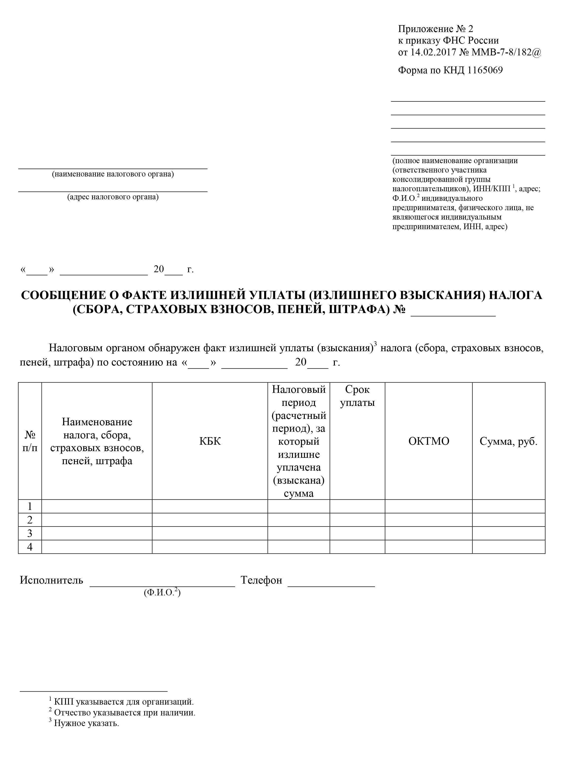Бланк уведомления о факте переплаты, который отправляет налоговая