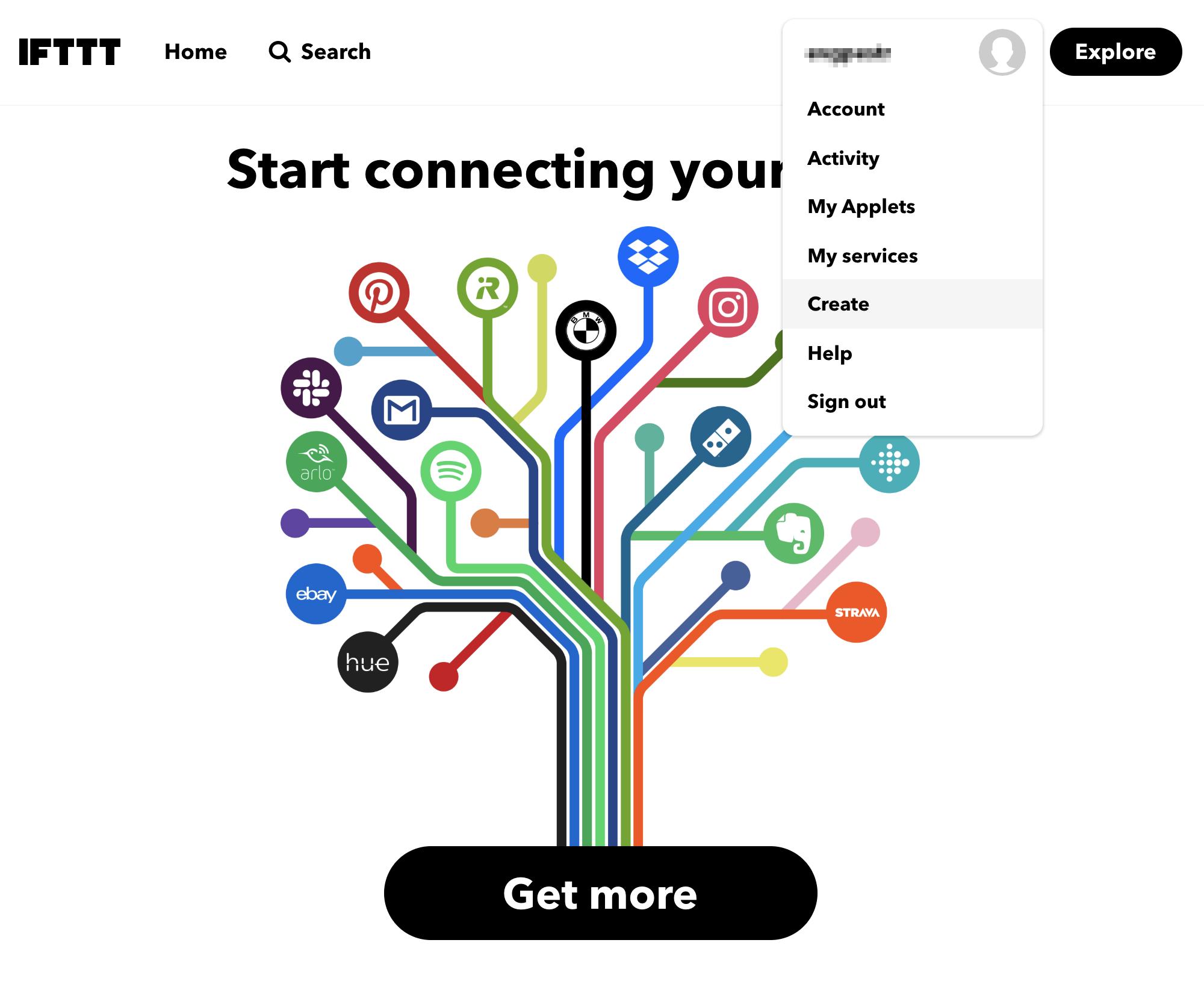 Заходим на ifttt.com и регистрируемся, затем жмем на иконку профиля в правом верхнем углу и выбираем Create