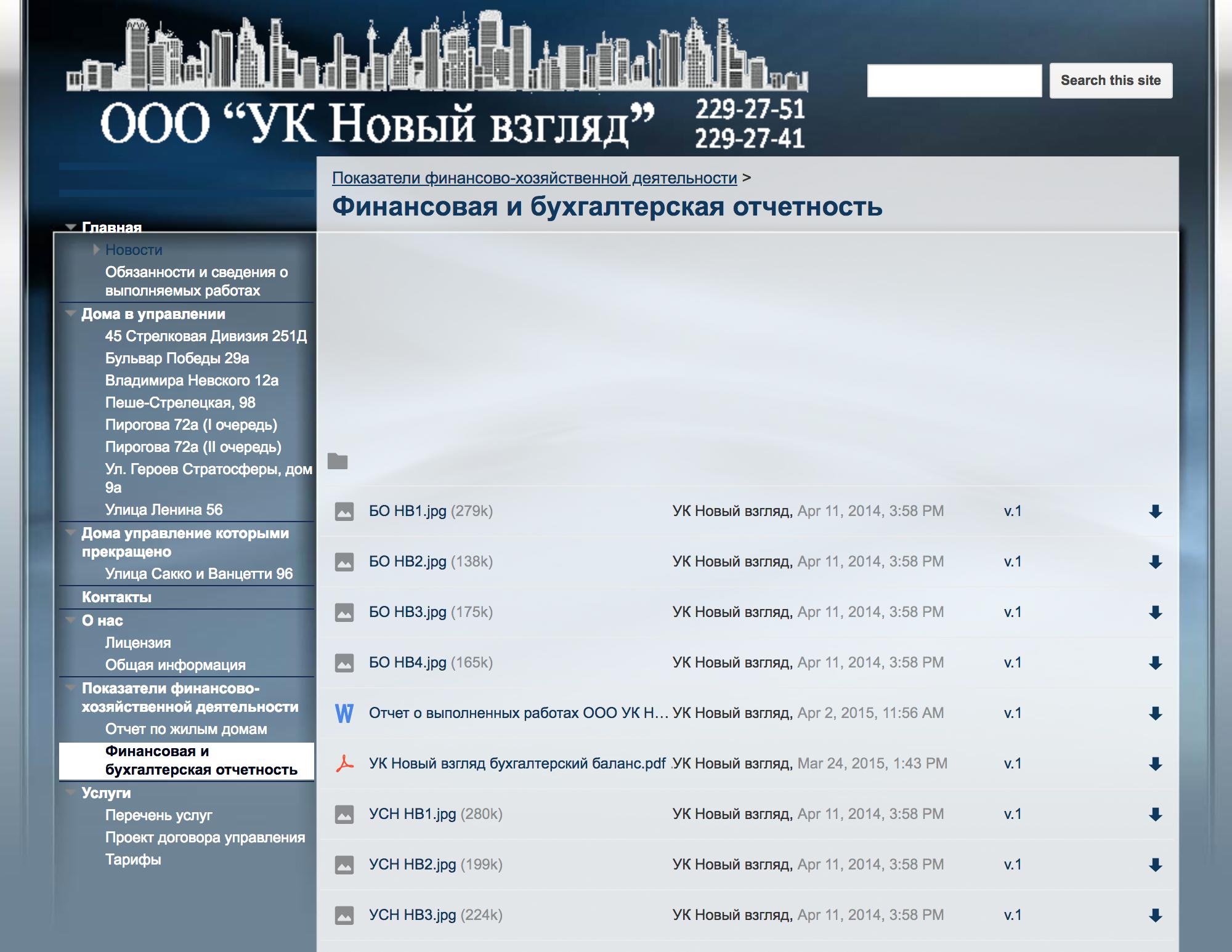 Документы финансовой и бухгалтерской отчетности УК также находятся в общем доступе