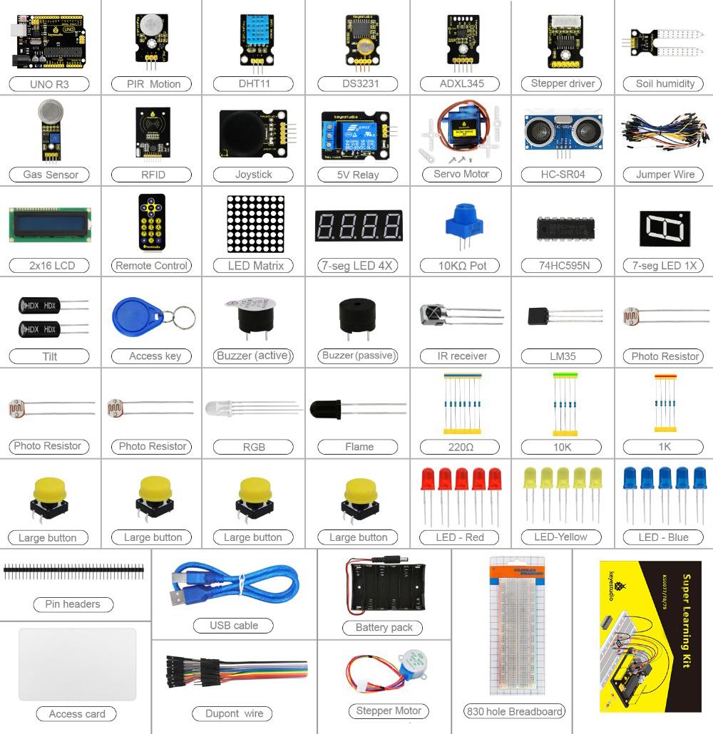 Так выглядит платформа «Ардуино» и комплект датчиков для умного дома. Простейшую автоматизацию можно собрать за 3000 рублей. Источник: магазин на «Алиэкспрессе»