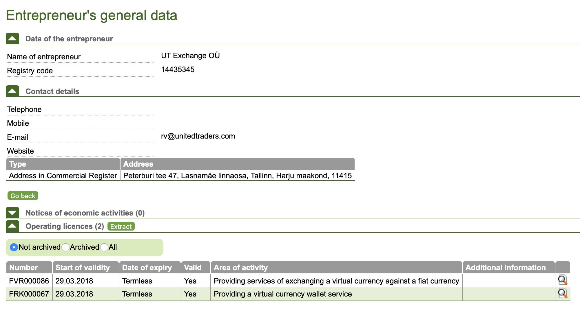 Записи о лицензиях эстонского юрлица на сайте местного регулятора. Лицензии на брокерскую деятельность нет