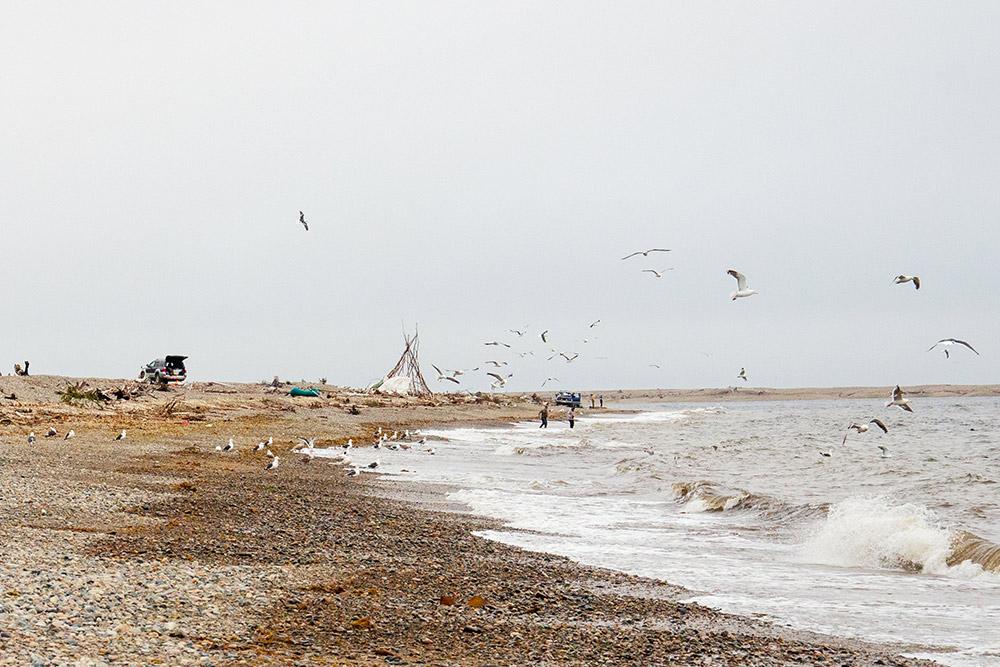 А таквыглядит побережье у мыса Нюкля, если спуститься поближе к воде