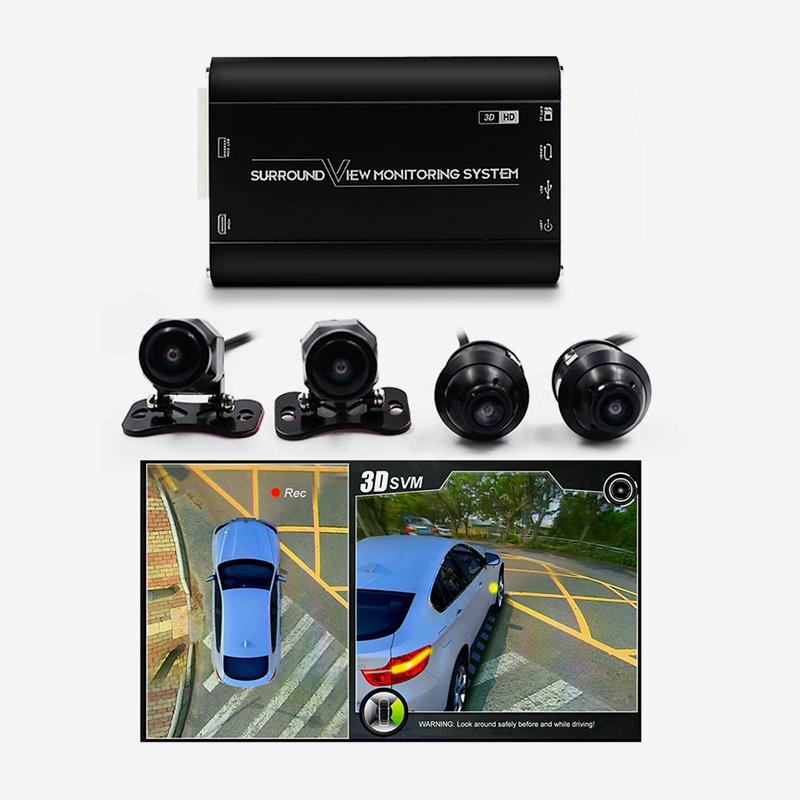 Такой регистратор обеспечивает круговой обзор автомобиля — кроме передней и задней камер есть еще две боковых