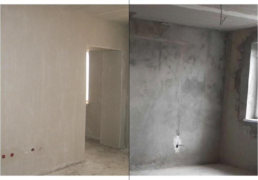 Слева: белая гипсовая штукатурка. Справа: серая цементная штукатурка.  Источник:ШтукатурЛюкс, Наша отделка