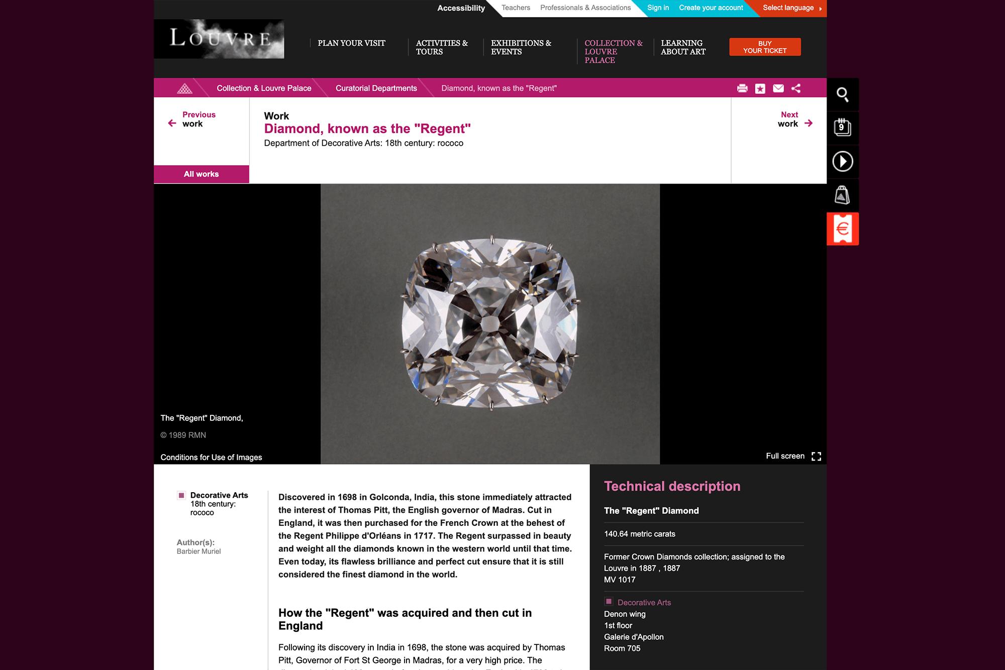 Алмаз Регента был найден в Индии