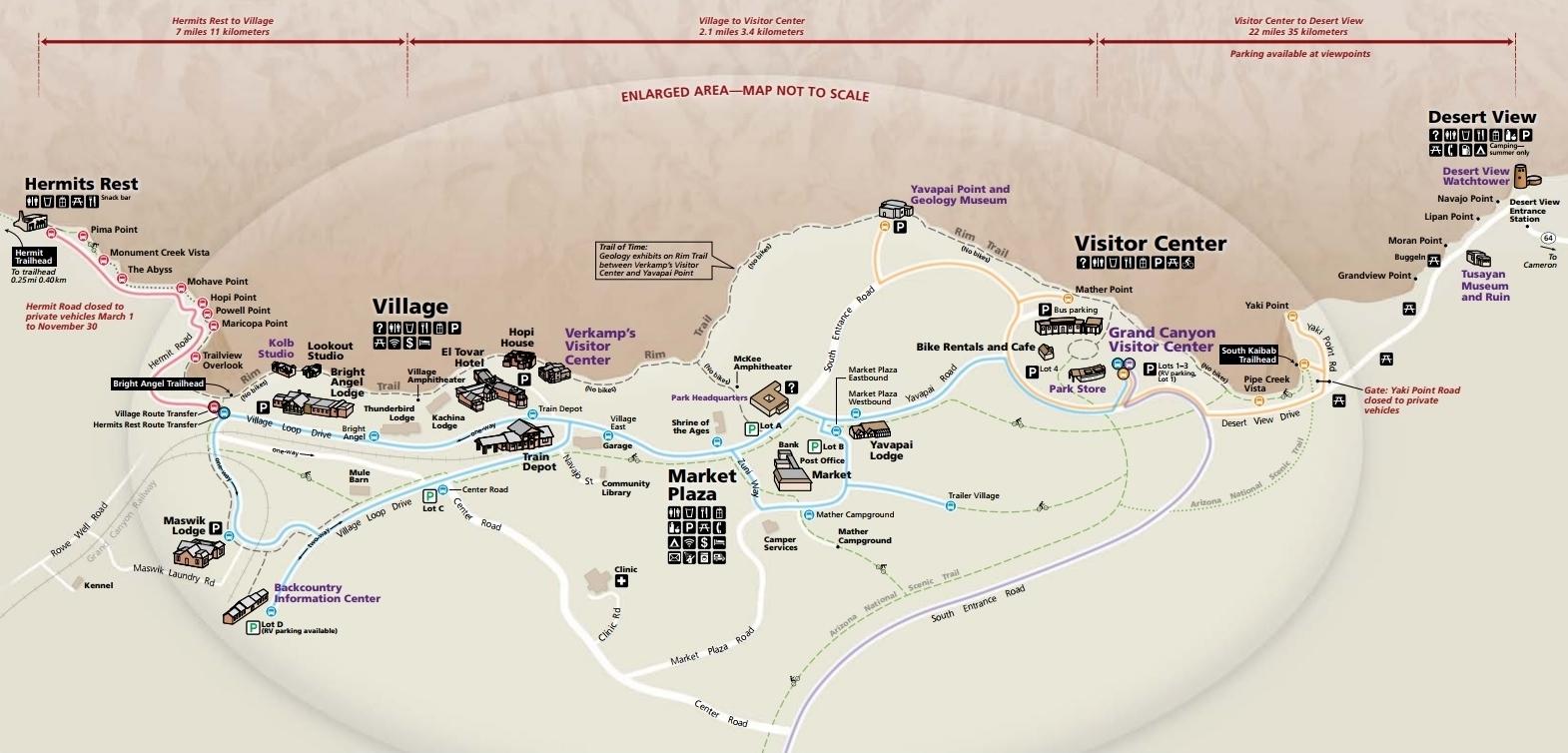 Карта южной части парка. На ней отмечены автобусные остановки, парковки, расположение центра для посетителей и все, что может понадобиться туристу