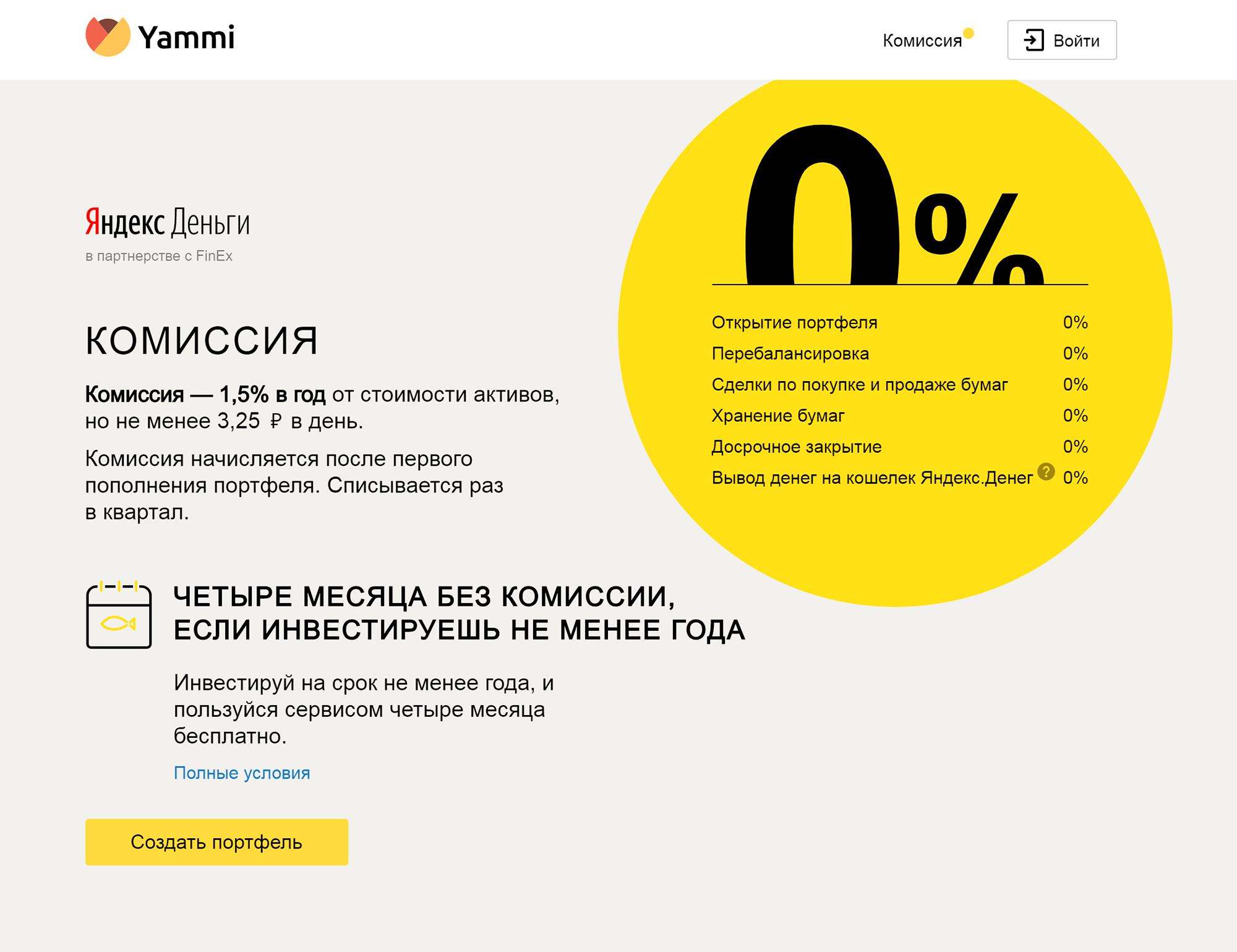 Комиссии на сайте «Ямми» выглядят странно. Сервис крупно пишет про 0%, и это создает впечатление, что он ничего не берет за свою работу. И тут же рядом — комиссия 1,5% в год за управление счетом. А чтобы вывести деньги с кошелька «Яндекс-денег», придется заплатить еще 3,5% от суммы