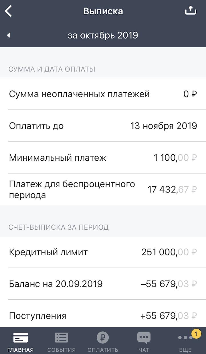 Пример выписки по кредитной карте. За октябрь пользователь потратил 17 432,67<span class=ruble>Р</span>. Если он вернет все деньги до 13 ноября, процентов по ним не будет