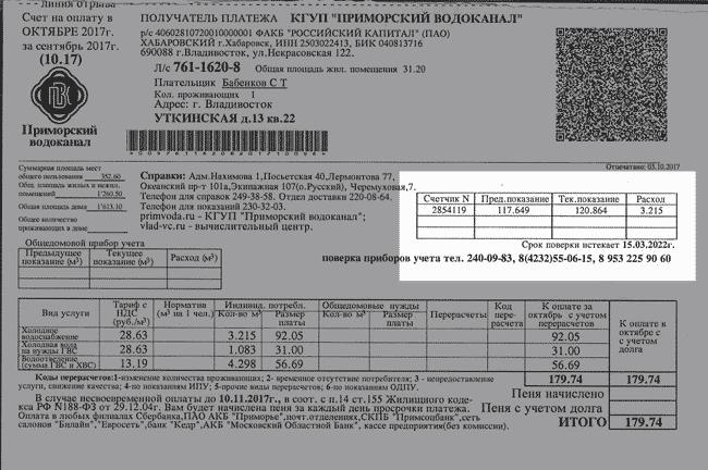Настоящая квитанция, где указан срок поверки счетчиков