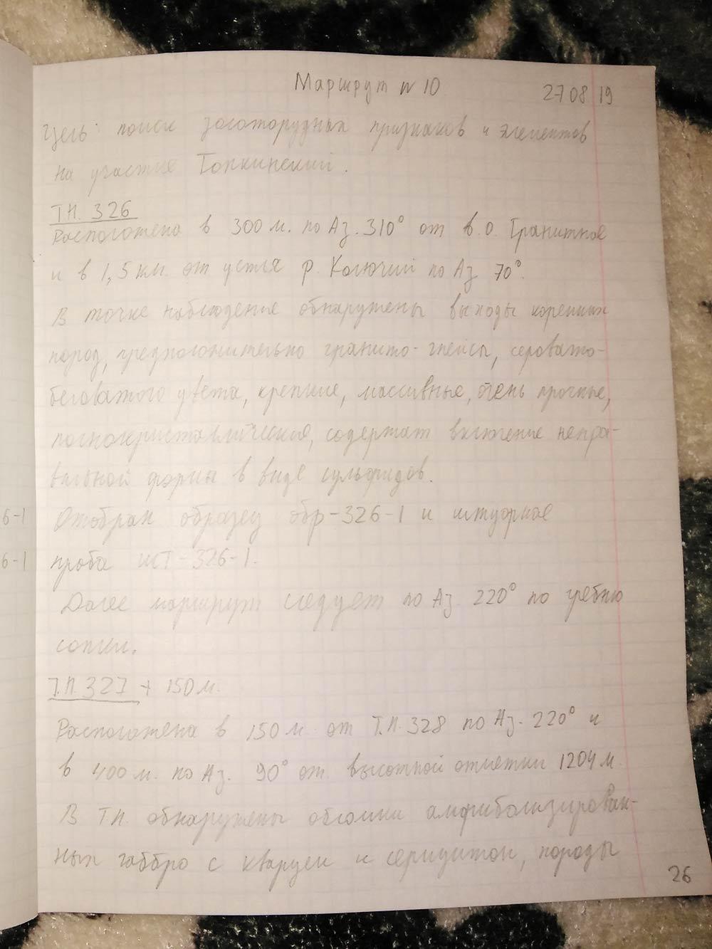 Записи в полевом дневнике делаются простым карандашом. Писать в лесу не очень удобно, поэтому записи короткие и не всегда понятные. Вот одна из них: «В точке наблюдения обнаружены коренные породы серовато-беловатого цвета, предположительно гнейсограниты, содержащие включения в виде сульфидов. Отобран образец обр-326-1 и штуфная проба шт-326-1»